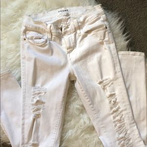 White Frame denim jeans with holes